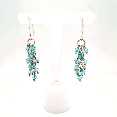 Apatite Cluster Earrings - Sterling Dangle, French Hook Earrings  - 1 3/4 inch
