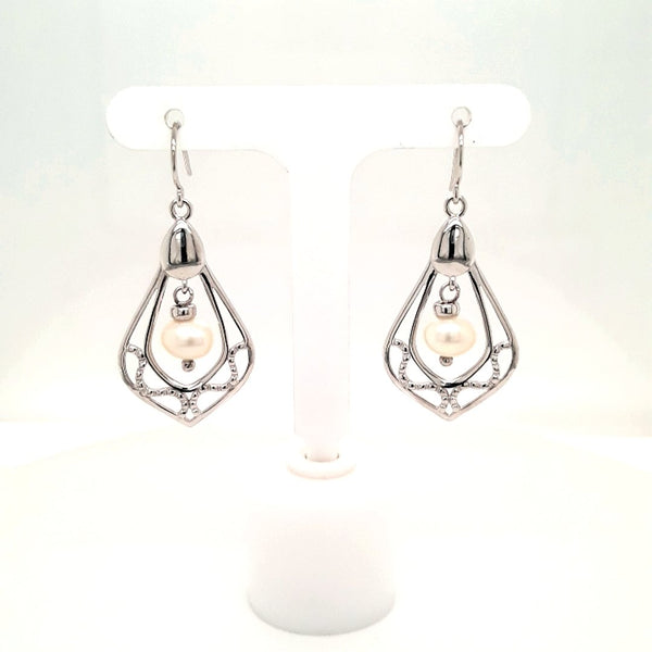 Pearl Sterling Dangle, French Hook Earrings  - 1 1/2 inch