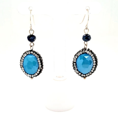 Aqua Crystal & Swarovski Pave' - Sterling Dangle, French Hook Earrings  - 1 3/4 inch
