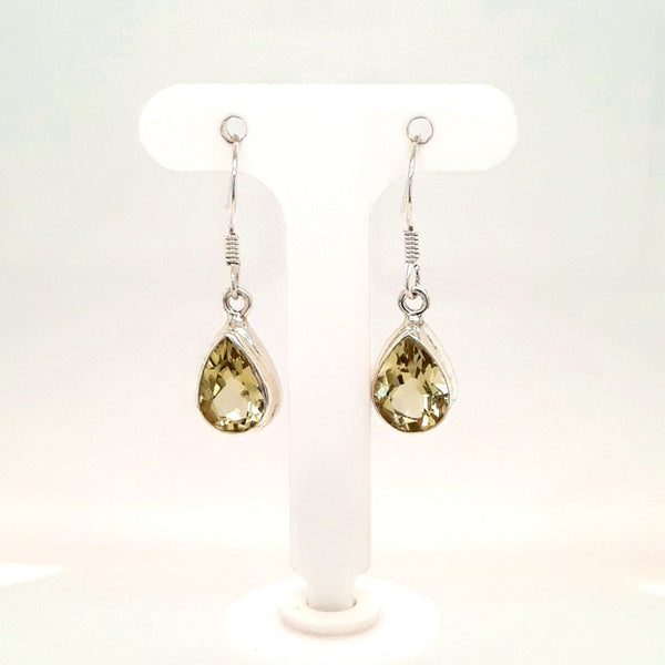 Yellow Gemstone Sterling Dangle, French Hook Earrings  - 1 inch
