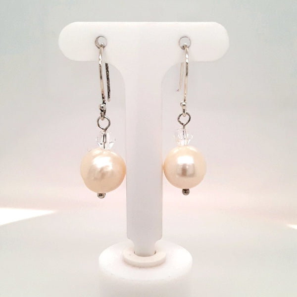 Pearl Sterling Dangle, French Hook Earrings  - 1 1/4 inch