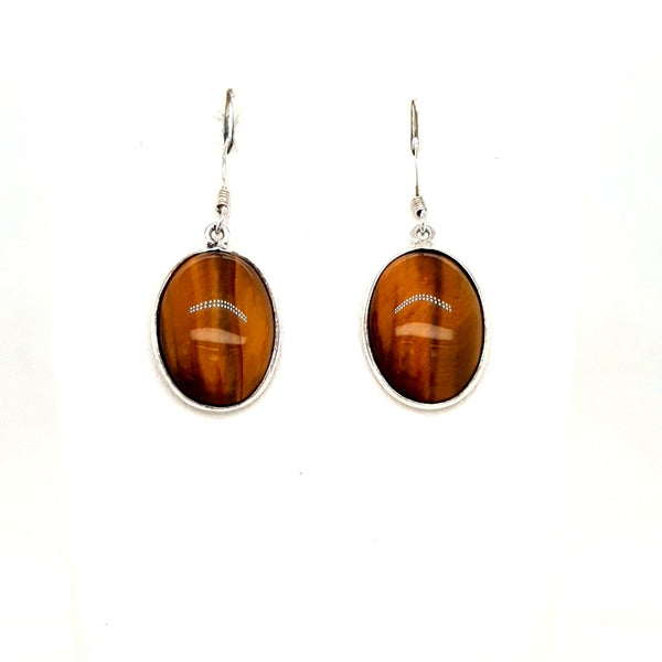 Tigers Eye Sterling Dangle, French Hook Earrings  - 1 1/2 inch