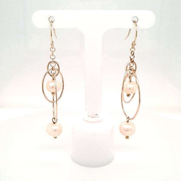 Pearl Sterling Dangle, French Hook Earrings  - 2 inch