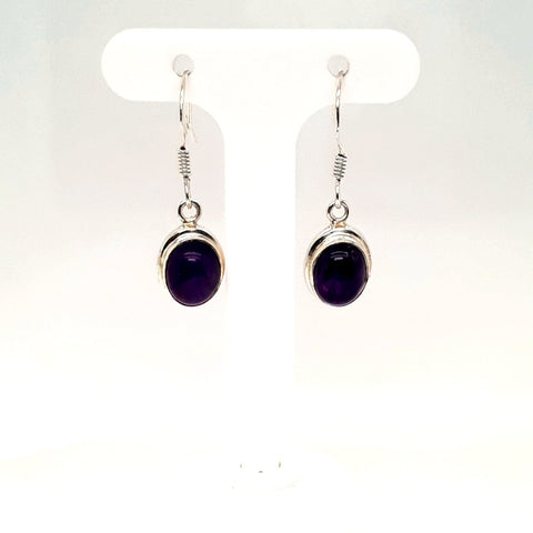 Amethyst Sterling Dangle, French Hook Earrings  - 1 inch