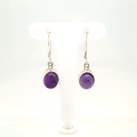 Amethyst Sterling French Hook, Lever Back Earrings  - 1 1/8 inch
