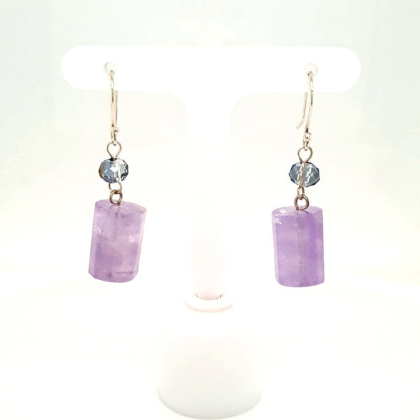 Purple Gemstone Sterling Dangle, French Hook Earrings  - 1 1/2 inch