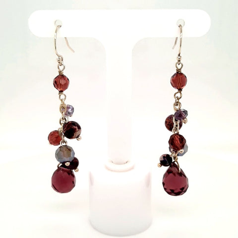 Purple Gemstone Sterling  Earrings  - 2 inch