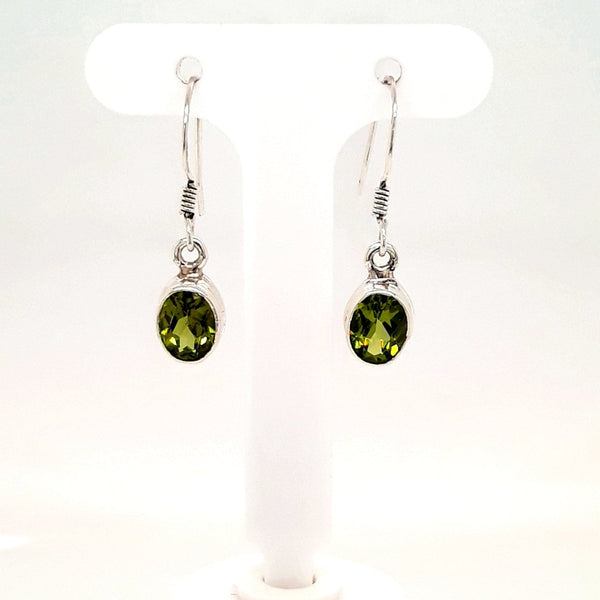 Peridot Sterling Dangle, French Hook Earrings  - 1 inch