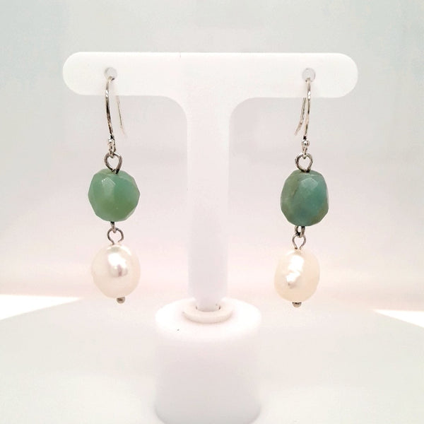 Pearl and Amazonite Sterling Dangle, French Hook Earrings  - 1 3/4 inch
