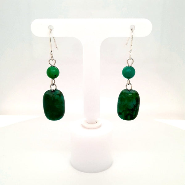 Green Gemstone Sterling Dangle, French Hook Earrings  - 1 1/2 inch