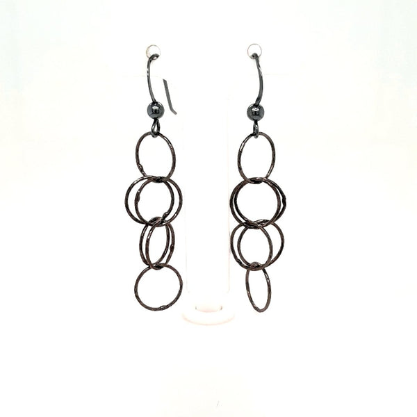 Artistic Rhodium Washed Sterling Dangle, French Hook Earrings  - 1 3/4 inch