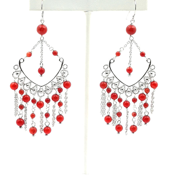 """Lady in Red"" -Red Coral Sterling Dangle, French Hook, Chandelier Earrings  - 3 inch"