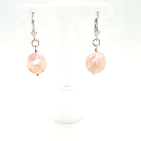 Pink Champagne Baroque Pearl  Sterling Lever Back Earrings  - 1 1/2 inch