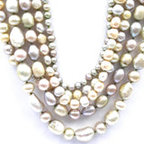 Pearl Sterling Multi Strand Necklace  - 16-20 inch