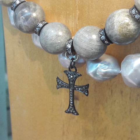 Labradorite Necklace with Diamond Cross
