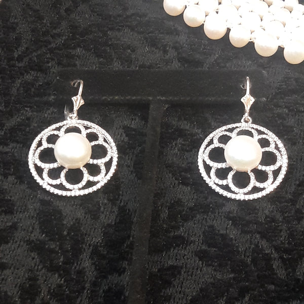 White Pearl and Topaz Earrings