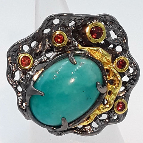 Because I'm AMAZING! Amazonite and Garnet Rhodium Washed Ring - Size 6.5