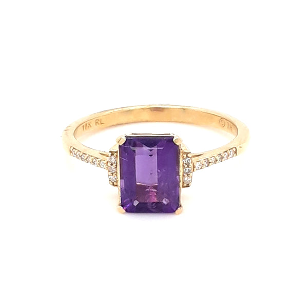 """My Cube-n Princess"" - Amethyst and Diamond Gold Ring - Size 7"