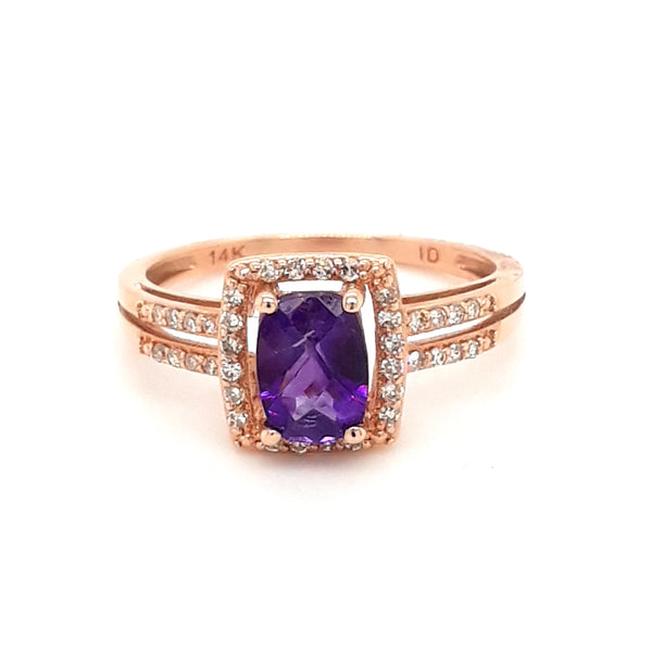 "The Royal ""WE"" - Amethyst and White Sapphire 14K Rose Gold Ring - Size 7"