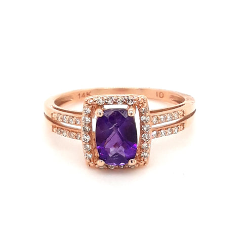 Amethyst and White Sapphire 14K Rose Gold Ring - Size 7
