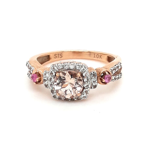 """Blush & Blossoms"" - Rose Gold Morganite, Pink Tourmaline and White Sapphire Ring - Size 7"