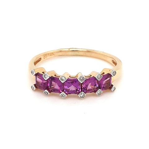 Rhodalite and Diamond 14kt Gold Ring - Size 8