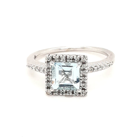 """Squares in Love"" - Aquamarine and Diamond 14K White Gold Ring - Size 7"