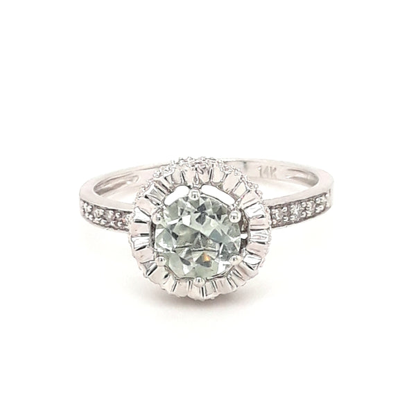 """Sweet Magnolia Mine"" - Green Amethyst and Diamond 14K White Gold Ring - Size 7"