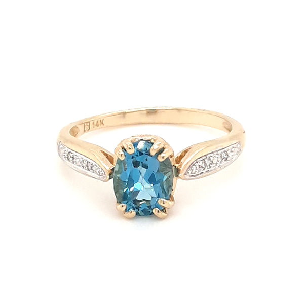 """Cure for the Blues"" - Blue Topaz and Diamond 14kt Gold Ring - Size 7"