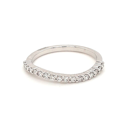 Diamond White Gold Band - Size 6.5
