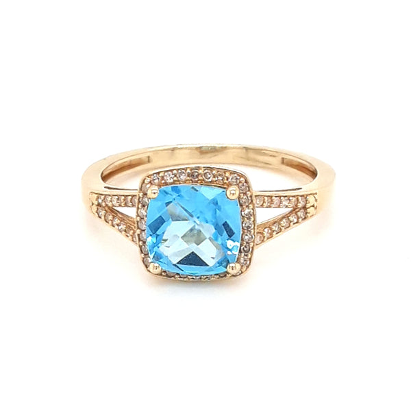 """Best of The Blues"" - 14K Gold Blue Topaz And Diamond Ring - Size 7"