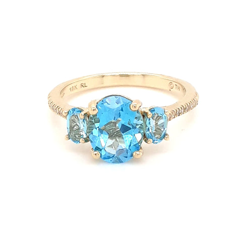 """Bombay Bay-Bay"" -Blue Topaz and Diamond Gold Ring - Size 7"