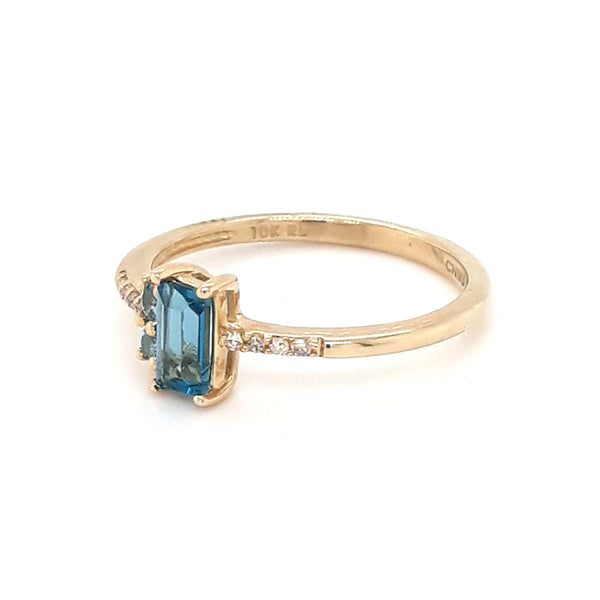Blue Topaz and Diamond Gold Ring - Size 6.5
