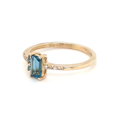 """Raindrops Falling on My Head"" -Blue Topaz and Diamond Gold Ring - Size 6.5"