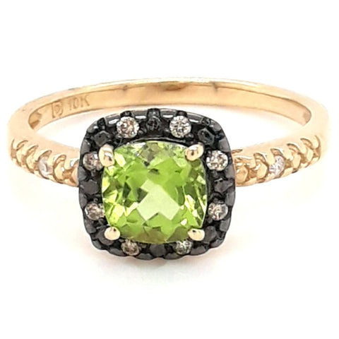 """I Need My Greens!"" - 14K Gold Peridot And Diamond Ring - Size 7"