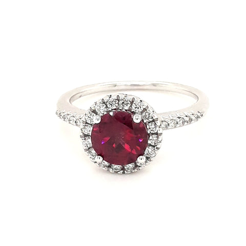 """Hot House Flower"" - Garnet and Diamond 14K White Gold Ring- Size 7"