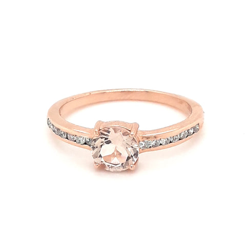 """My Little Rosebud"" - Morganite and Diamond 14kt Rose Gold Alternative Engagement Ring- Size 7"