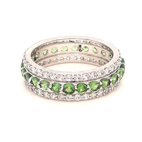 """I LOVE Mr. Green Jeans!"" - Chrome Diopside and White Zircon Gemstone Eternity Ring - Size 8"