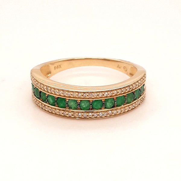 """Green Greek Goddess"" -Emerald and Diamond 14kt Yellow Gold Band - Size 8.5"
