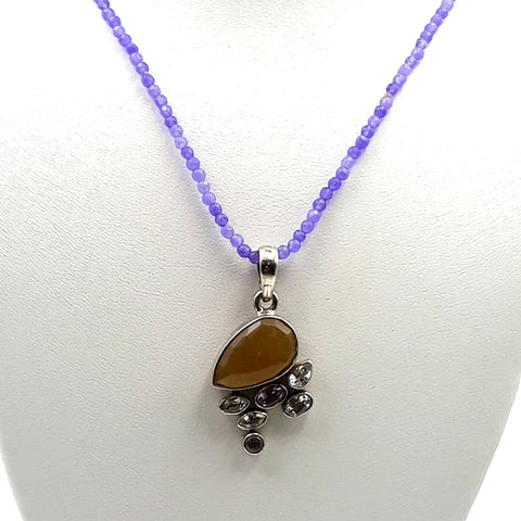 Opal, African Iced Amethyst on Lavender Jade Sterling  Necklace  - 16 inch