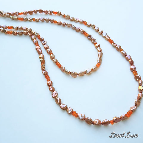 "60"" peach pearl section knotted rope necklace"