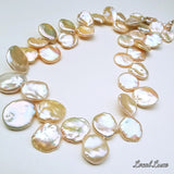 Champagne & Cream Keshi Pearls on 14kt Necklace