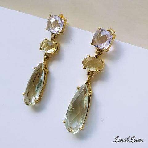 Gemstone Gold Post Drop, Dangle Earrings  - 1 3/4 inch