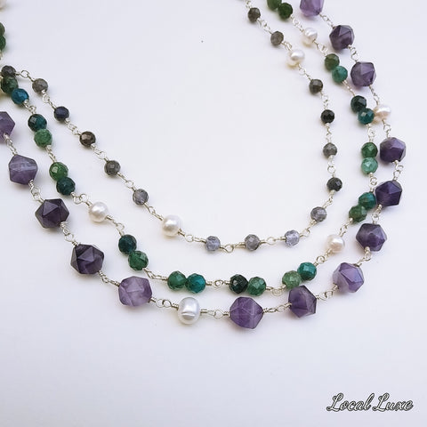 """Very Vine, Indeed"" - Amethyst Sterling Necklace - 16-18 inch"