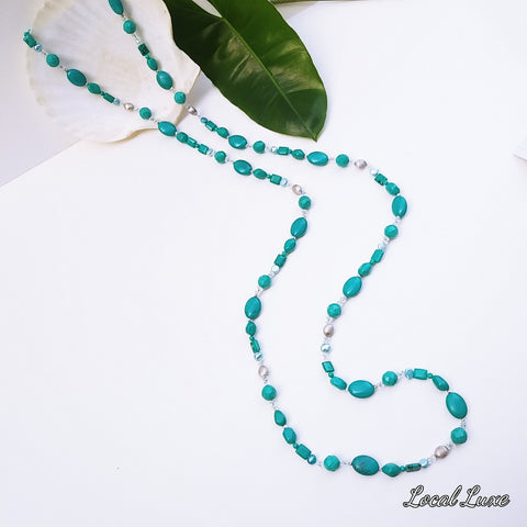 """Cloud Bursting"" - Mixed Turquoise Long Strand Necklace - 54 inches"