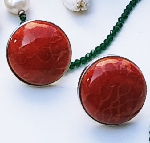 Red Coral .925 Euro Clip Earrings