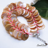 Pink Mother of Pearl Snake Charmer Cuff Bracelet