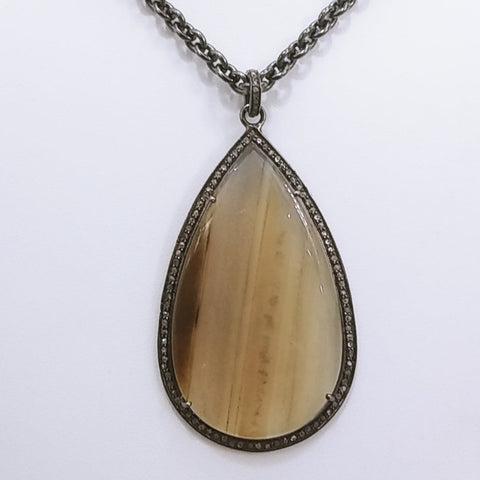 """Slice of Lemon Cake"" -Slice of Agate with Diamond Halo Pendant Necklace"