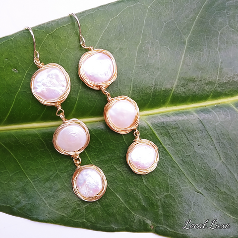 Gold Plated Coin Pearl Wire Wrap Hook Dangle Earrings