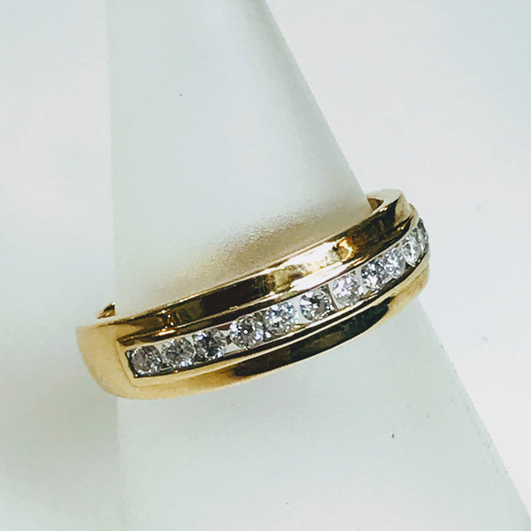 """We ARE The Band"" -.50 CT TW Diamond Gold Band - Size 10"